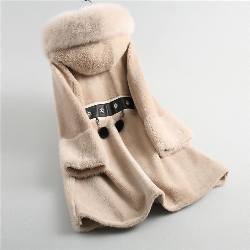 Qui Renard Couture Hiver Long De Nouvelle 18084 Fourrure Laine Maylooks Camel Capuche Manteau À htsCdQr