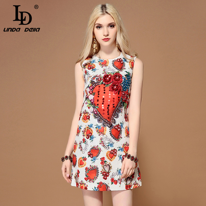 LD LINDA DELLA 2019 Fashion Runway Summer Dress Women s Sleeveless Gorgeous Sequined Casual Floral Print
