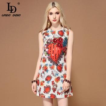 dc05e5d9e LD LINDA DELLA Moda 2019 pista vestido de verano de las mujeres sin mangas  de hermosa con lentejuelas de impresión Floral elegante Vestidos cortos
