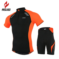 ARSUXEO Men Bike Cycling Jersey Quick Dry Short Sleeves T Shirts + 3D Coolmax Gel Pad Shorts Suit MTB Bike Bicycle Sets Clothing