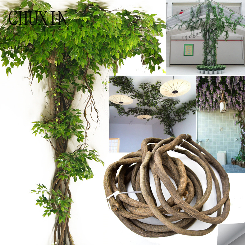 High imitation rattan decoration artificial flowers green leaves rattan branches home wedding hotel ceiling wall accessories