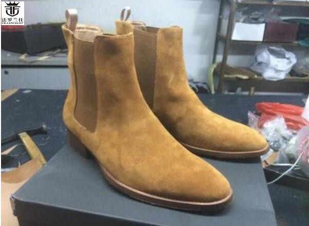 86e0f1450 LANCELOT/2019 распродажа, мужские ботинки, замшевые ботинки челси с острым  носком ...