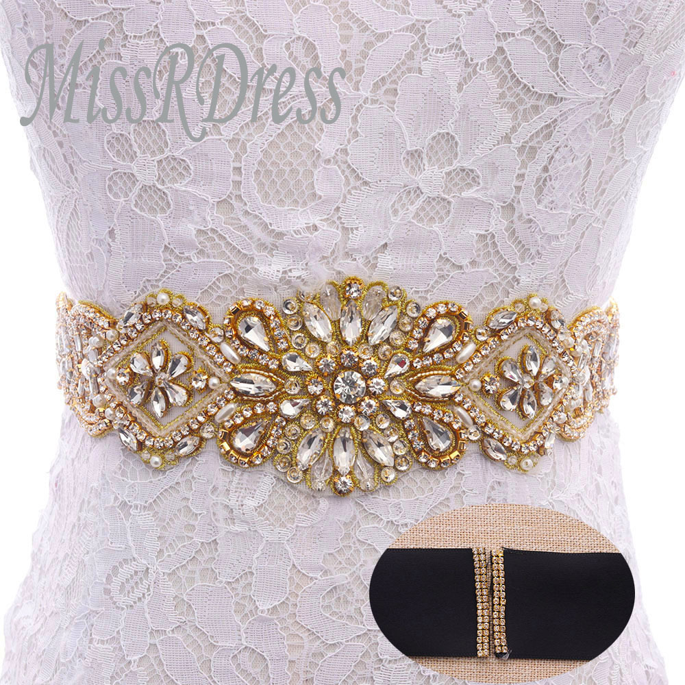 fcaa32d0a08f MissRDress Dazzling Bridal Robe Ceinture Or Cristal Strass Rubans De ...