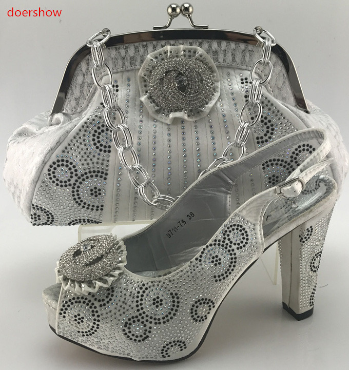 doershow  2017 New Arrival African Woman Sandals Shoes And Bag Rhinestone Fashion Italian Shoes And Bag Set Free Shipping WI1-20 цены онлайн