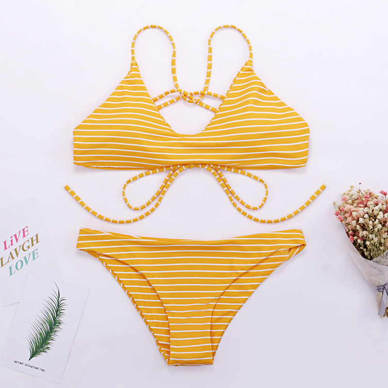 Wasteheart Summer Yellow Sexy Bikini Set Women Swimsuit Bikini Cross Straps Swimwear Low Waist Bathing Suit Female Beach Style in Bikinis Set from Sports Entertainment