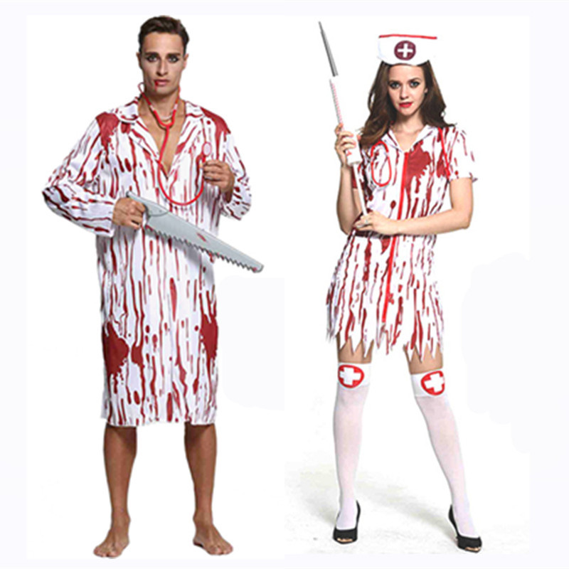 Halloween Adult Men Women Terror Doctor Nurse Cosplay Costume With Blood Printed Costumes(not inclouding the Props)