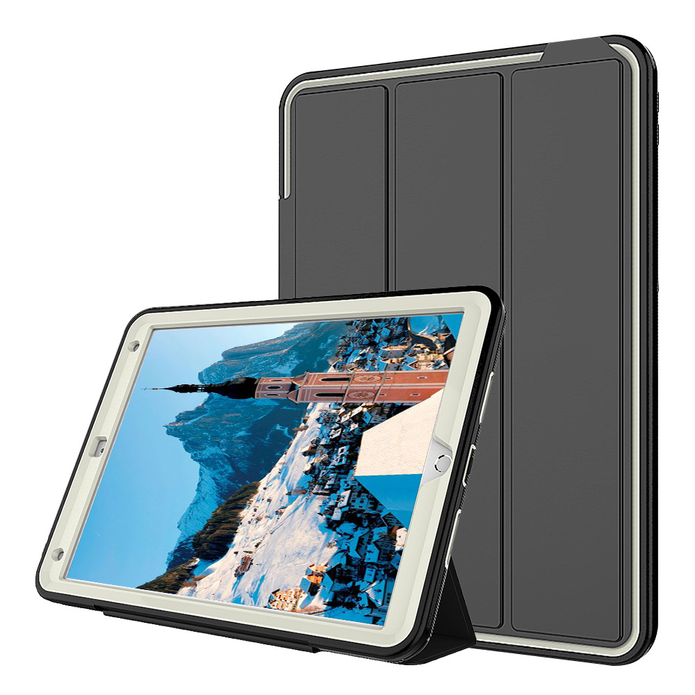 For 2017 New iPad Pro 10.5 3-Layer Smart Cover Case Shockproof Heavy Duty PC+TPU+PU Folding Stand Hard Armor Tablet Case case for ipad pro 12 9 case tablet cover shockproof heavy duty protect skin rubber hybrid cover for ipad pro 12 9 durable 2 in 1