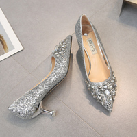 2018 Summer new water drill tip with silver wedding shoes cat heel single piece sequined female high heeled wedding shoes