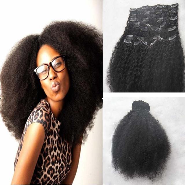 Afro Rizado Rizado Clip en la Extensión Del Pelo Clip En Extensiones de cabello 100g 120g 140g color Natural Brasileño de la Virgen Del Pelo 9 unids