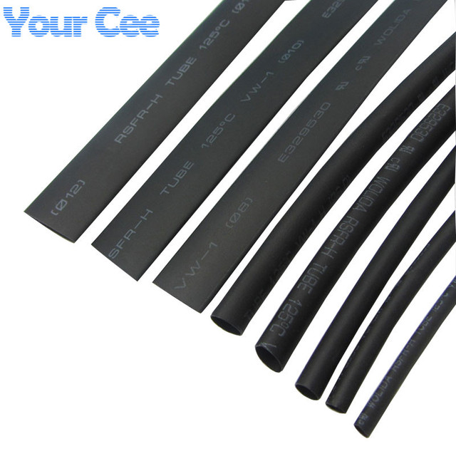 8 Size Heatshrink Heat Shrink Tube Black Insulation Sleeves Wire Wrap Cable Kit 2mm~12mm