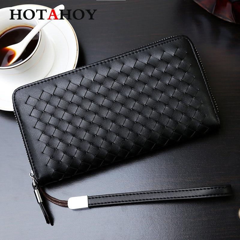 ФОТО Men Genuine Leather Weave Wallet Top Sheepskin Men Wallets Clutch Plaid Leather Purse Carteira Masculina Phone Bag