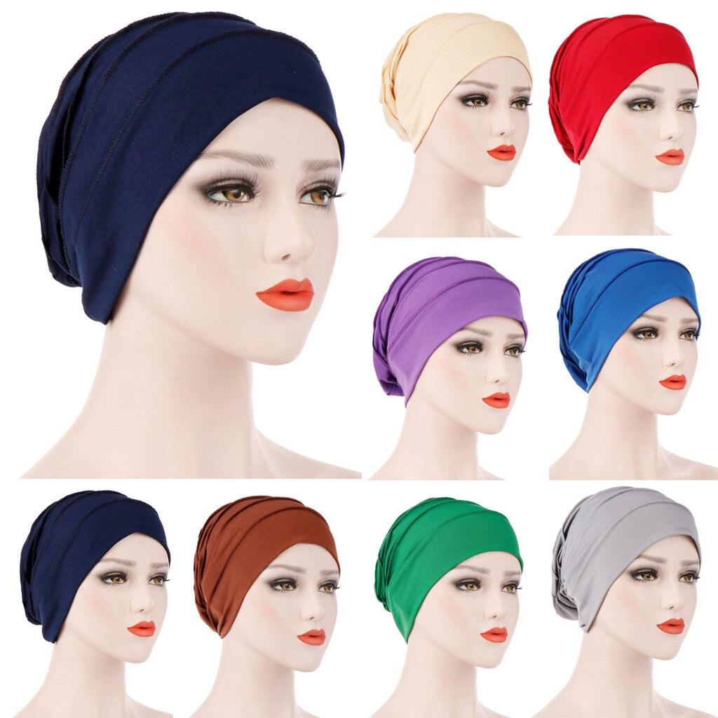 2019 NEW Women India Hat Muslim Ruffle Cancer Chemo Hat Beanie Scarf Turban Head Wrap Cap 4.13