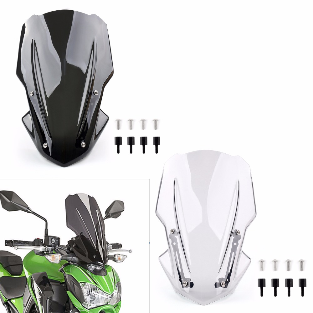 Areyourshop Motor Fur Kawasaki Windschutzscheibe Z900 2017 Schwarz Klar ABS Hochwertigen Motorrad Zubehor In