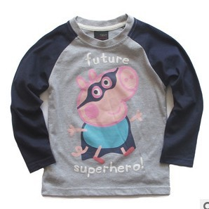 Free shipping! Peppa Pig George Pig boy boys long sleeve grey and blue Superhero t shirt tee top LAST 5 PCS ONLY SIZE 3 5 5 6 7Y