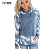 Women Hooded Hoodies With Drawstrings Fashion All Match Sweatershirts Autumn Winter Print Striped Long Sleeve Shirts