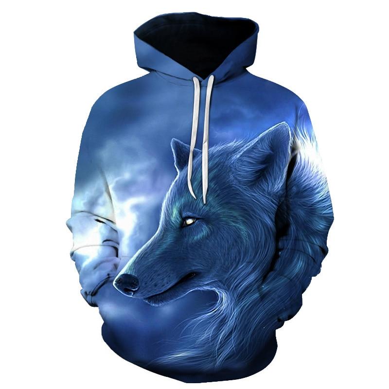 Cool Lightning Wolf Print Hooded Sweatshirt