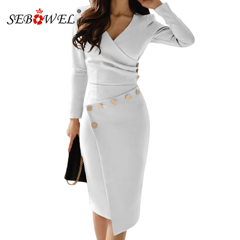 4dee8e8514 US $23.79 40% OFF|SEBOWEL Casual Black Long Sleeve Bodycon Office Work Midi  Dress Women Button Ruched V Neck Party Gown Asymmetrically Dresses-in ...