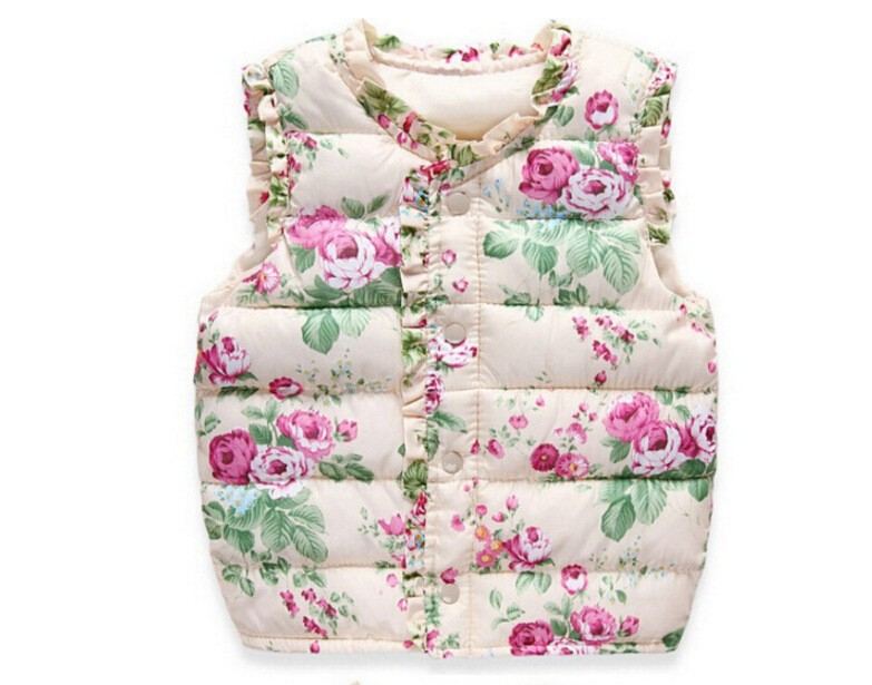 BibiCola Children Clothing Autumn Winter Outerwear Coats Floral Thick Princess Girls Vest Kids Jackets Baby Girl Warm Waistcoat