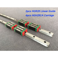 Free shipping 2pcs 25mm HGR25 1200mm 1300 1400 1500mm linear guide + 4pcs HGH25CA or HGW25CA carriage CNC parts