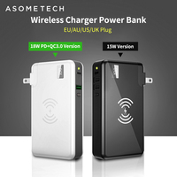 QC3.0 PD Fast Charge Wireless Charger Power Bank For Iphone Samsung Huawei 10000mAh Powerbank Dual USB 3 in 1 18650 Battery Case
