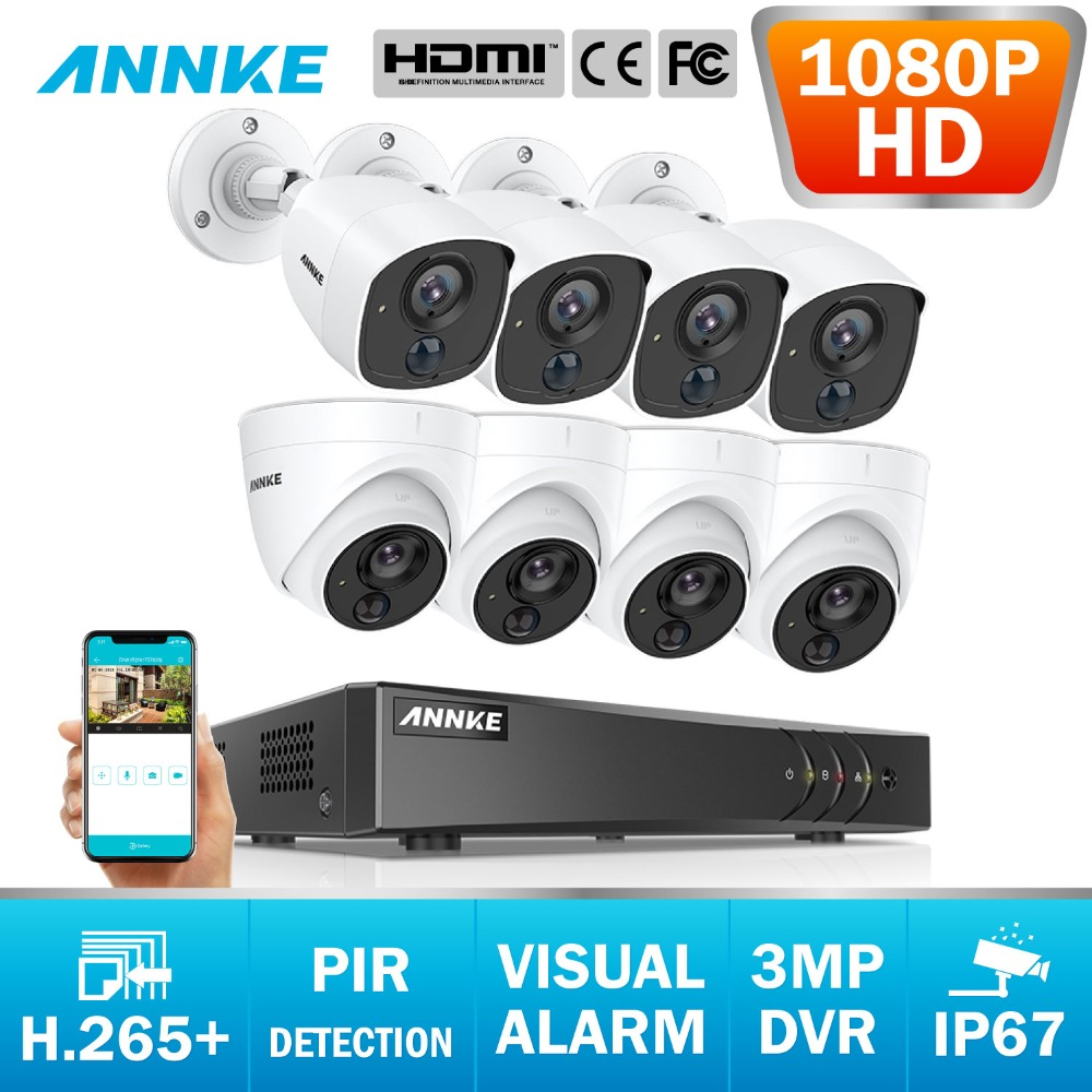 ANNKE 2MP CCTV Camera System 8CH 3MP 5in1 H 265 DVR And 1080P HD Weatherproof Bullet