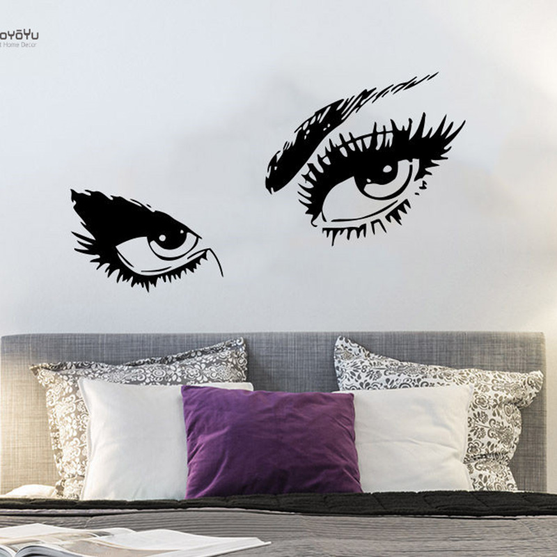 YOYOYU Wall Decal Girl Women Sticker Eyes View Face Fashion Room Decoration Beauty Salon YO215