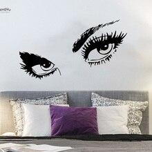 YOYOYU Wall Decal Girl Women Sticker Eyes View Face Fashion Room Decoration Beauty Salon YO215