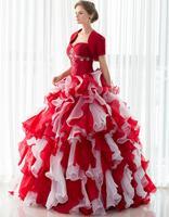 יין אדום עם הלבן ראפלס אורגנזה שמלות ואגלי מסיבת חתונת שמלות נשף כדור כותנות Quinceanera עם מעיל שרוול קצר