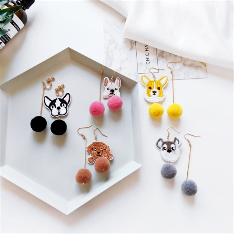 Cute Cartoon 6 Style Teddy Dog Shar Pei Chihuahua Fur Ball Asymmetric Earrings Ear Clips Female Personality Charm Jewelry Gift ...