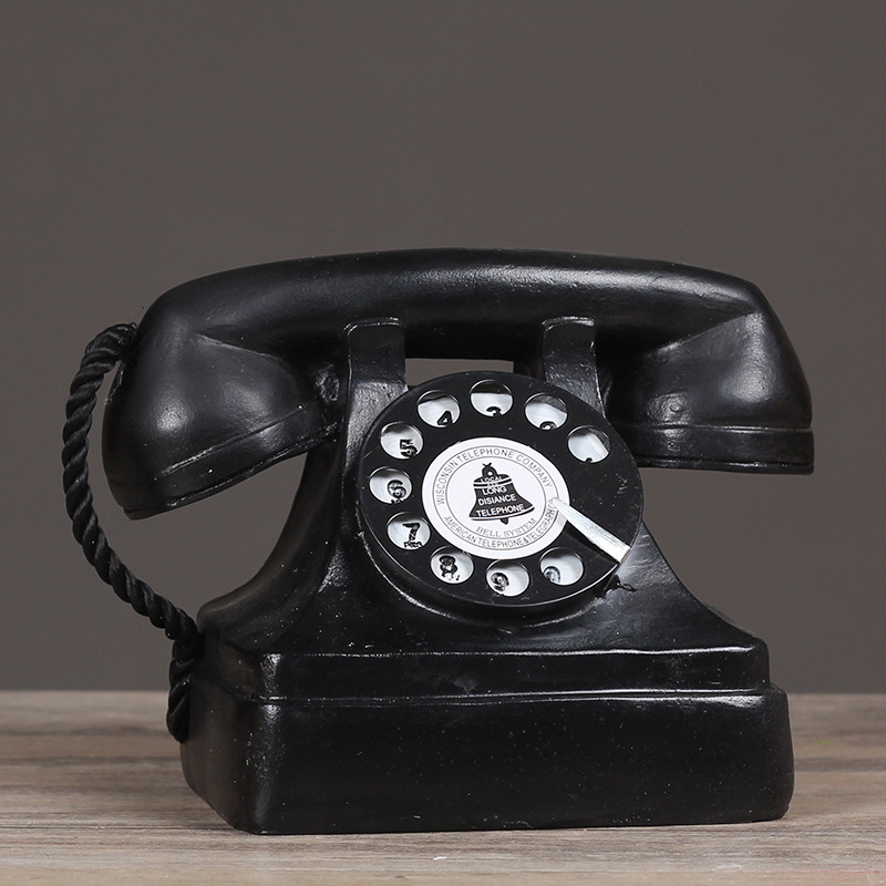 US $15 98 40% OFF|Resin Crafts Retro Phone Craft European Vintage Style  Wall Hung Resin Old Telephone Model Bar Cafe Wall Home Decor-in Figurines &