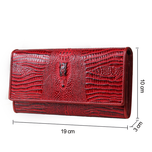 Genuine Leather Women Wallets Lady Purse Long Alligator Wallet Elegant Fashion Female Women Clutch With Card Holder 1