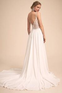 Image 3 - Vestido de noiva com renda, vestido de festa de casamento simples e charmoso com decote em v, vestido de casamento com costas