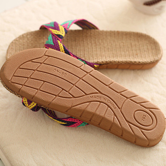 2017 Fashion Flax Home Slippers Indoor Floor Shoes Cross Belt Silent Sweat Slippers For Summer Women Sandals 3