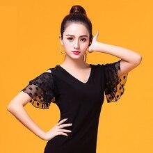 Black V hals korte mouw Moderne latin dance kleding top voor vrouwen/vrouwelijke dansers, vogue Ballroom Kostuum prestaties slijtage YR0303