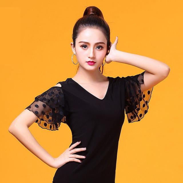 שחור V צוואר קצר שרוול מודרני לטיני בגדי ריקוד למעלה לנשים/נקבה רקדנים, ווג סלוניים תלבושות ביצועים ללבוש YR0303