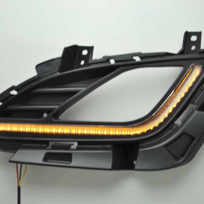 ФОТО 1Pair Car DRL For HYUNDAI Elantra 12-15 LED Auto Daytime Running Light Fog Lamp Lights Car-Styling Accessories Bright