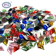 HL 100/300/500pcs 17MMx10MM  Acrylic Loose Rhinestones Sew-on Flatback Garment Bags Shoes Sewing Accessories DIY Crafts