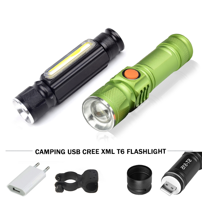 Camping lights usb led flashlight cree xml t6 torch waterproof 18650 rechargeable battery led lamp flash light 3000 lumenes high lumen led flashlight 4 2v cree xml t6 2 18650 battery 5 modes focalize flash lamp 2 18650 batteries battery charger