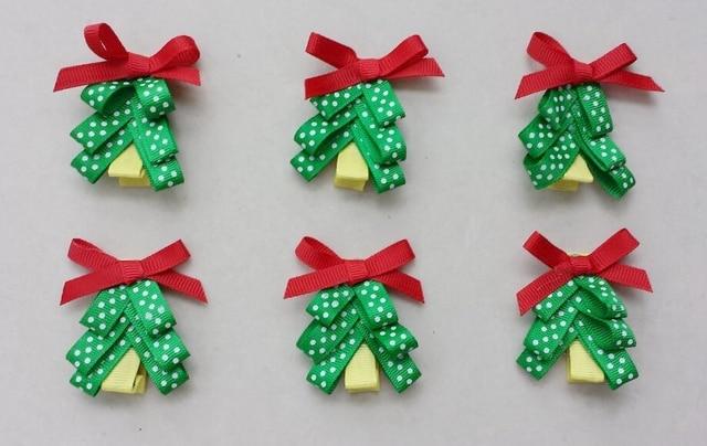10pcs 2inch Christmas Tree Hair Clip Accessories Kids Bows Flower Alligator Clips Girls Headband Xmas Renda