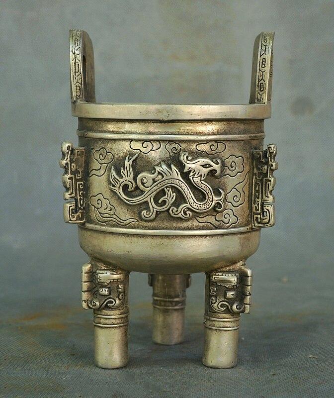 Ancien palais de chine argent Fengshui richesse Dragon Totems brûleur d'encens encensoir Ding