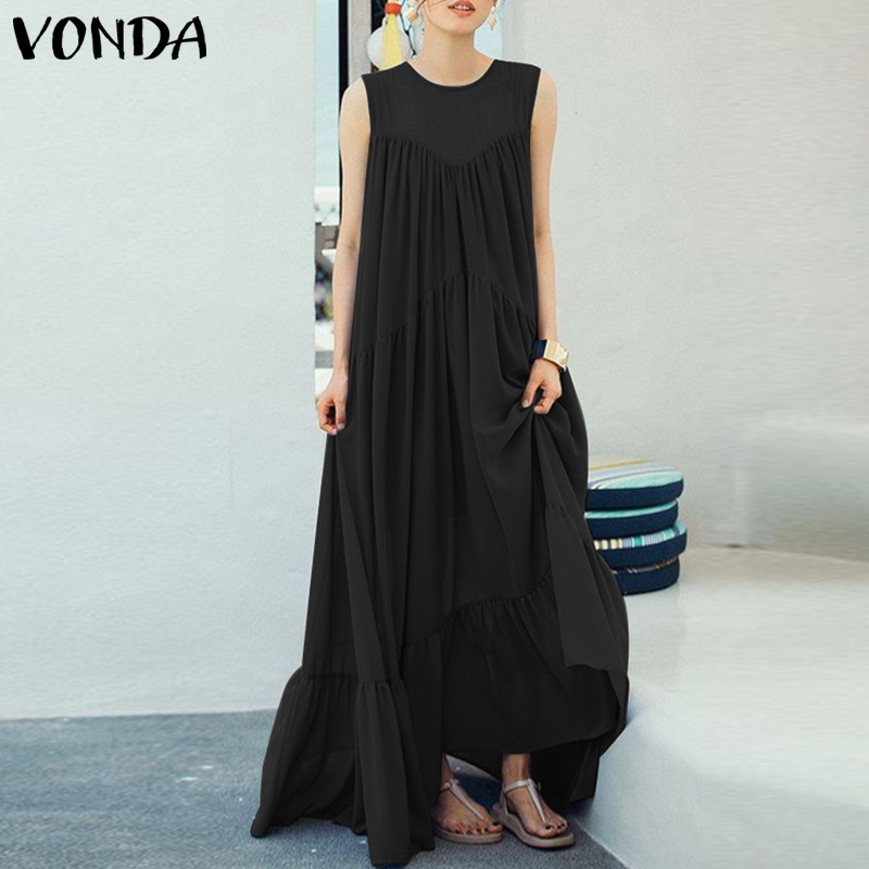 2019 Vintage Sexy Women 39 s VONDA Fashion Sleeveless Maxi Long Dress Beach Vestidos Robe Femme Party Summer Sundress Plus Size 5XL in Dresses from Women 39 s Clothing