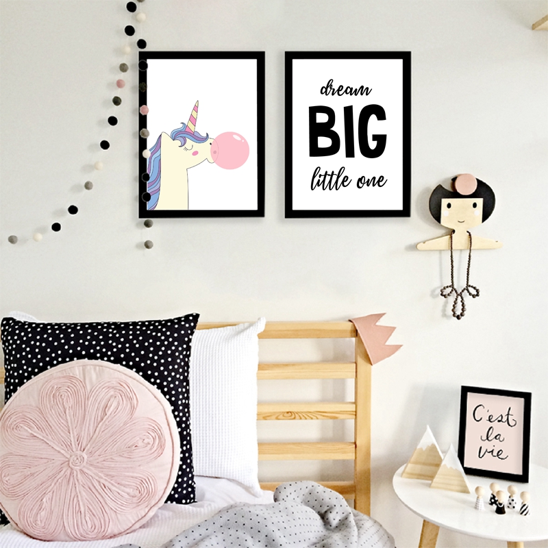 Dream Big Little One - Kids Inspirational Quote Print Poster , Pink Unicorn Canvas Painting Wall Picture Baby Girls Room Decor