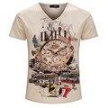 2016 primavera ocasional de manga curta v neck camiseta 3d engraçado homens marca de moda t-shirt dos homens camiseta hombre roupas dos homens cobre t