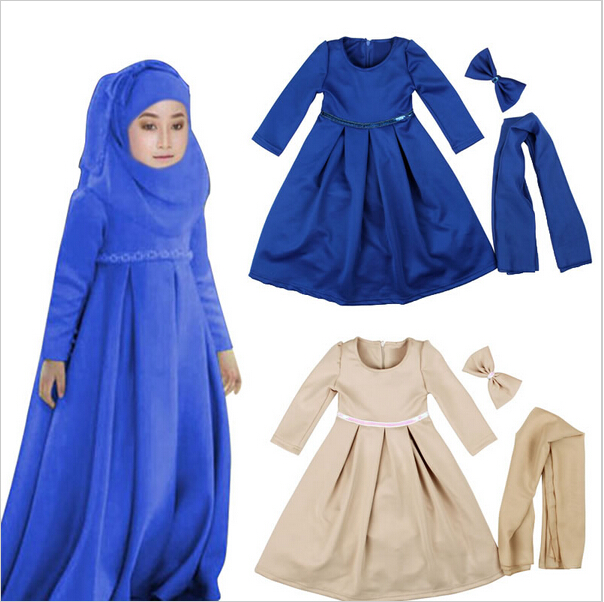 Muslim Maxi Dresses Baby Girls Clothes Costume Children Long Sleeve Dress+Bow+Scarf Vestidos Girl Clothing Sets Party Holiday 2016 new girls clothes brand baby costume cotton kids dresses for girls striped girl clothing 2 10 year children dress vestidos