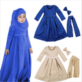 Muslim Maxi Dresses Baby Girls Clothes Costume Children Long Sleeve Dress+Bow+Scarf Vestidos Girl Clothing Sets Party Holiday