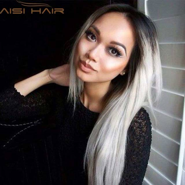 """Ombre Grey Wigs 26"""" Women's Synthetic Wig Long Straight Hair Ombre Wigs For Black Women Heat Resistant Fiber Cheap Cosplay Wig"""