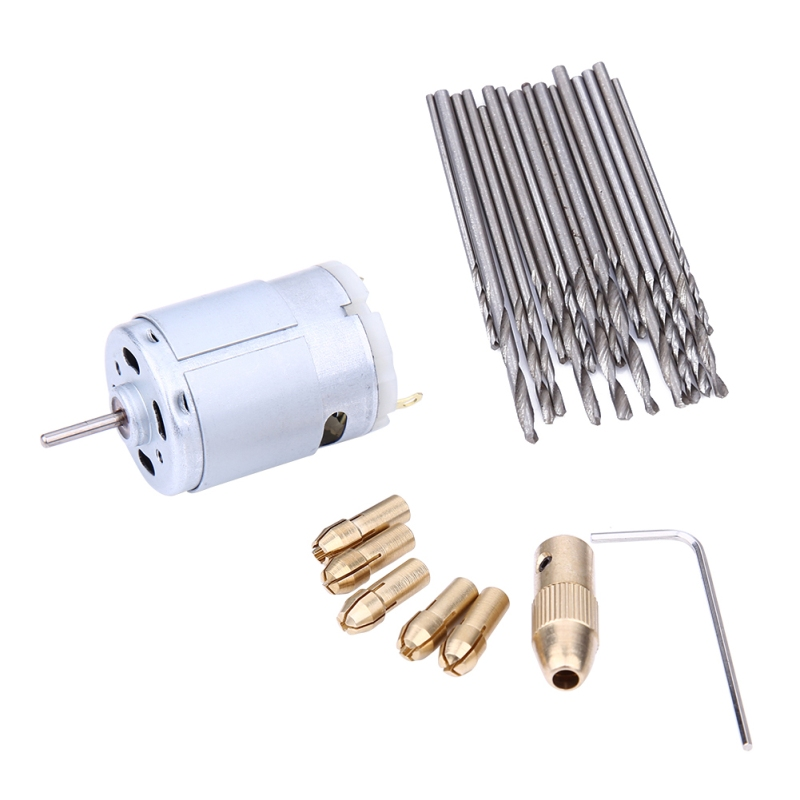 Mini Small DC 12V Electric Motor PCB Hand Drill Press Drilling Compact Set with 16Pcs 0.8-1.5mm Twist Dril and 0.5-3.2mm Chucks new dc 6v 12v electric hand drill diy press motor 0 3 4mm jto keyless chuck with 10pc twist bit set model hobby tool