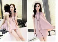 Summer Women S Lenient Chiffon Shirt Short Pants Two Piece Suit Relaxed Soft Motion Thin Material