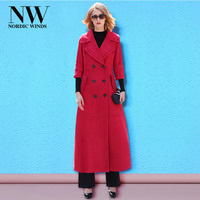 Ultra Long Red Coat Woman Winter Camel Turn Down Collar Double Breasted Coat Dress Pockets Outerwear