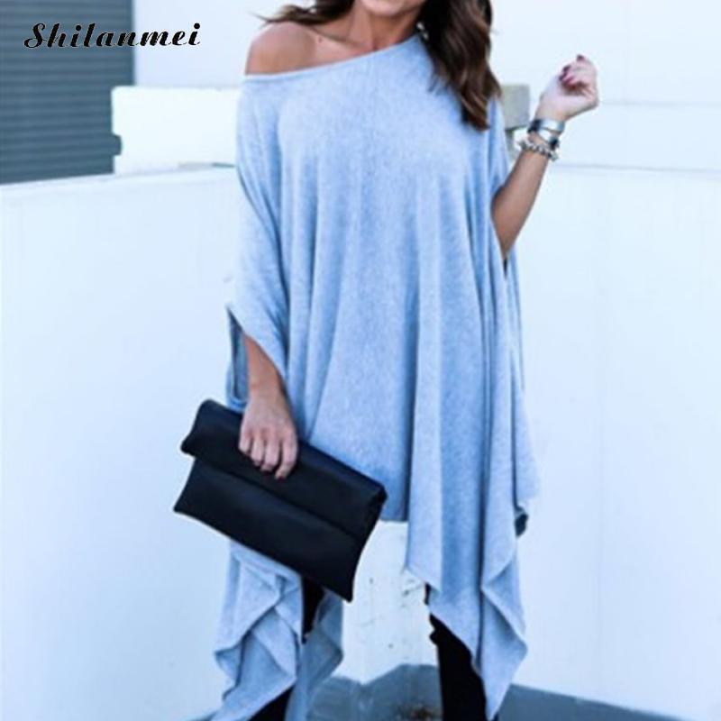 454975103d7 Irregular Loose Causal Long Women T Shirt Plus Size Batwing Sleeve Fashion  One Shoulder Tee Tops